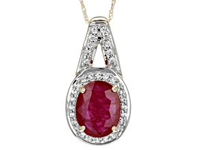 Red Ruby 10k Yellow Gold Pendant With Chain 1.63ctw