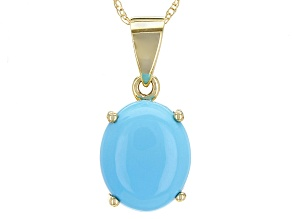 Blue Sleeping Beauty Turquoise 10k Yellow Gold Pendant With Chain