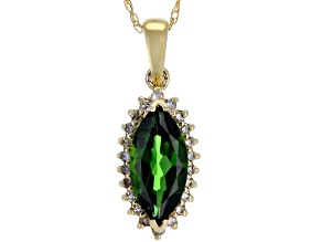 Green Chrome Diopside 10k Yellow Gold Pendant With Chain 1.19ctw