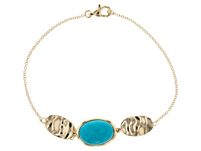 Blue Sleeping Beauty Turquoise 10k Yellow Gold Bracelet
