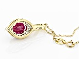 Red Ruby 10k Yellow Gold Pendant With Chain 1.61ctw