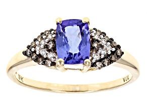 Blue Tanzanite 10k Yellow Gold Ring .97ctw