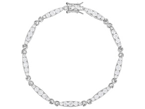 Pre-Owned White Cubic Zirconia Rhodium Over Sterling Silver Bracelet 4.32ctw