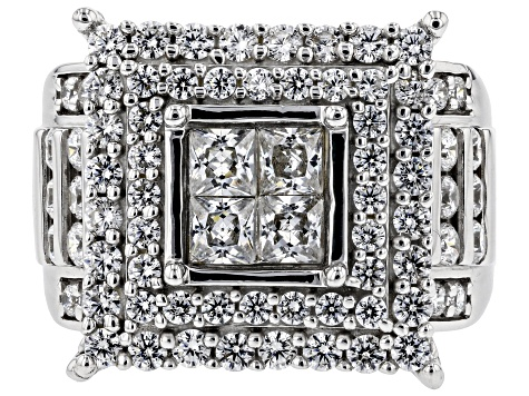 Pre-Owned White Cubic Zirconia Rhodium Over Sterling Silver Cluster Ring 4.82ctw