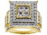 Pre-Owned White Cubic Zirconia 18K Yellow Gold Over Sterling Silver Cluster Ring 4.82ctw