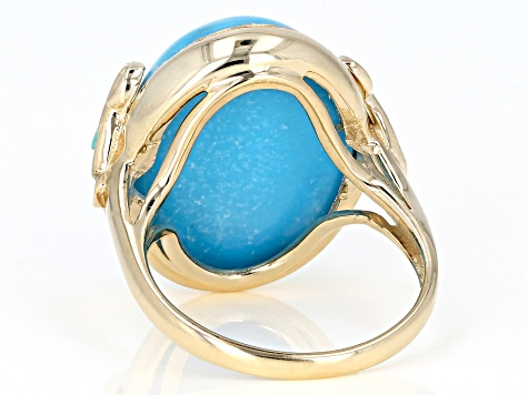Turquoise Solitaire 10k Yellow Gold Ring