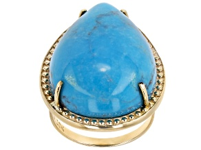 Blue Turquoise 10k Yellow Gold Ring 25x18mm