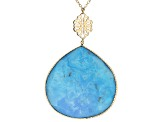 Blue Turquoise 10k Yellow Gold Necklace