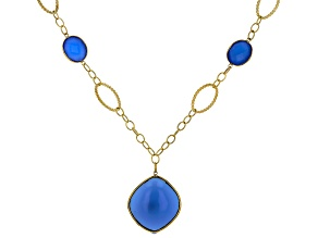 Blue Chalcedony Cabochon 10k yellow Gold Necklace
