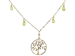 Green Peridot 10k Yellow Gold Tree of Life Necklace 1.80ctw