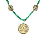Green Agate 10k Yellow Gold bead Tree of Life Necklace