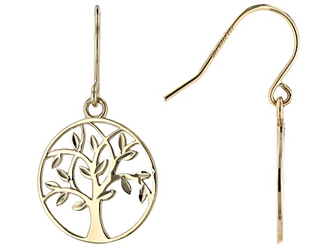 10k Yellow Gold Dangle Tree of Life Earrings