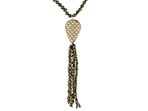 Green Pyrite Bead Tassel 10k Yellow Gold Necklace