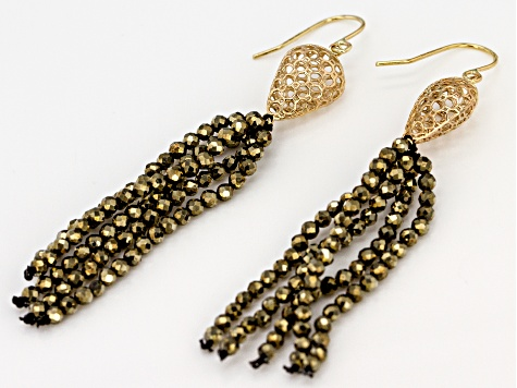 Green Pyrite Bead Tassel 10k Gold Earrings