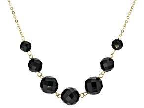 Black Spinel Bead 10k Yellow Gold Necklace 37.00ctw