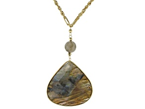 Gray Labradorite Drop 10k Gold Necklace
