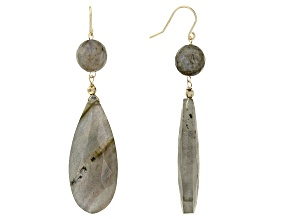 Green Labradorite 10k Gold Dangle Earrings