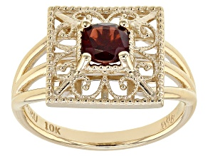 Red Garnet 10k Yellow Gold Ring .65ct