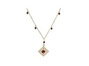 Red Garnet 10k Yellow Gold Necklace 1.65ctw
