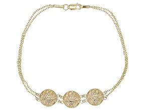 Inca Inspired Triple Shield 10k Gold Bracelet