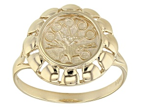 10k Yellow Gold Double Sided Peruvian Shield Ring