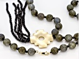 Gray Labradorite 10k Yellow Gold Chakana Cross Necklace 31.00ctw