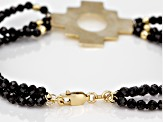 Black Spinel Bead 10k Gold Incan Chakana Cross  Bracelet 25.00ctw