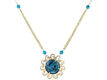 Picture of Blue Turquoise 10k Yellow Gold Necklace