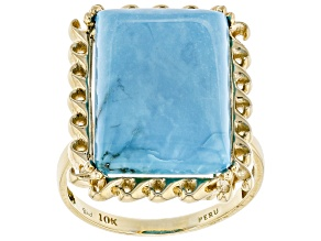 Blue Turquoise 10k Yellow Gold Ring
