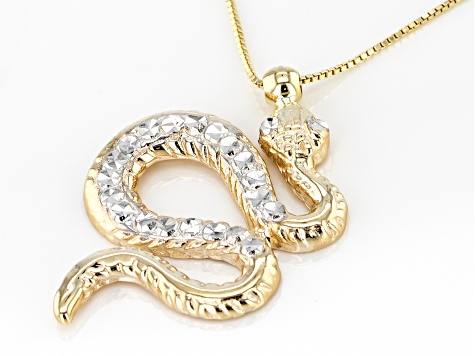 10k Yellow Gold Snake Pendant With Chain