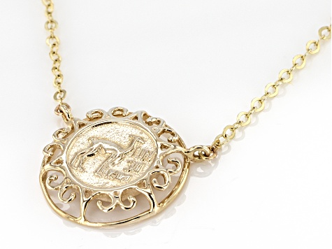 10k Yellow Gold Coin Design Necklace