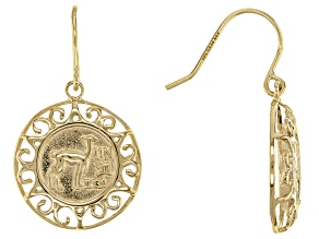 10k Yellow Gold Coin Design Dangle Earrings