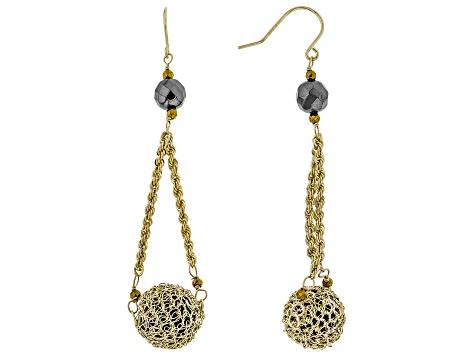 Black Onyx 10k Yellow Gold Earrings