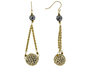 Black Onyx 10k Yellow Gold Earrings