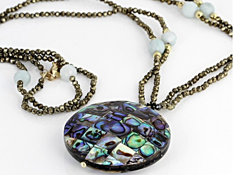 Multi-Color Abalone Shell 10k Yellow Gold Necklace