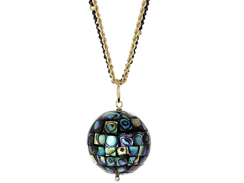 Mosaic Abalone Shell Pendant 10k Yellow Gold Chain Necklace