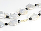White Cultured Freshwater Pearl 10k Yellow Gold Necklace