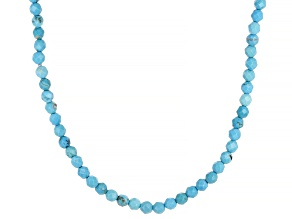 Blue Dyed Magnesite Bead Strand 10k Yellow Gold Necklace