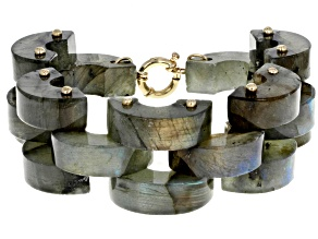 Artisan Collection Of Peru™ Gray Labradorite 10k Yellow Gold Bracelet