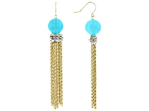 Teal Amazonite Bead 10k Yellow Gold Tassel Earrings