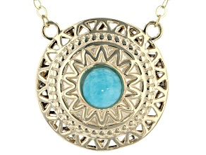 Teal Amazonite 10k Yellow Gold Necklace