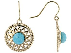 Teal Amazonite 10k Yellow Gold Dangle Earrings