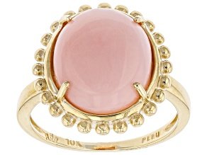 Pink Peruvian Opal 10k Yellow Gold Ring