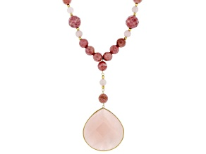 Pink Quartz 10k Yellow Gold Necklace