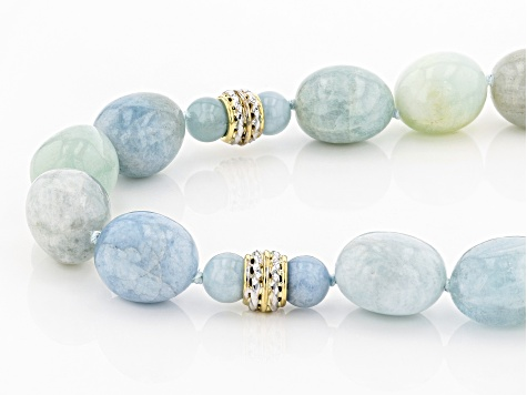 Blue Aquamarine Bead 10k Yellow Gold Necklace