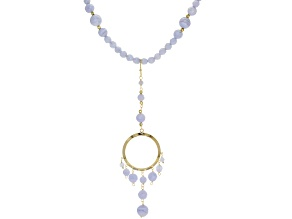 Blue Lace Agate 10k Yellow Gold Necklace with Enhancer