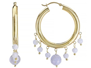 Blue Lace Agate Bead 10k Yellow Gold Hoop Earrings