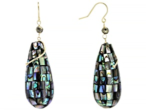 Artisan Collection Of Peru™ Multi-Color Abalone Shell 10k Yellow Gold Earrings