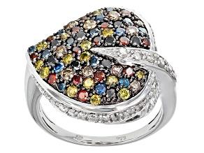 Multi-Color Diamond Sterling Silver Ring 2.00ctw