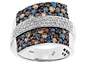 Multi-Colored Diamond Sterling Silver Ring 2.00ctw